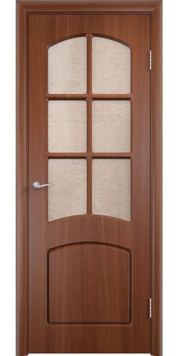Дверь межкомнатная Кэрол со стеклом цвет итальянский орех