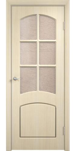 Дверь межкомнатная Кэрол со стеклом цвет беленый дуб