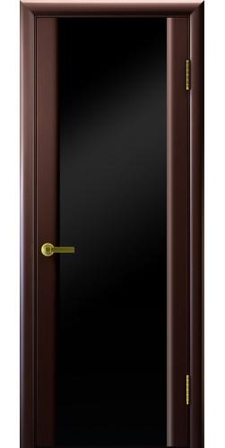 Дверь межкомнатная шпонированная со стеклом Техно 3 венге черный триплекс