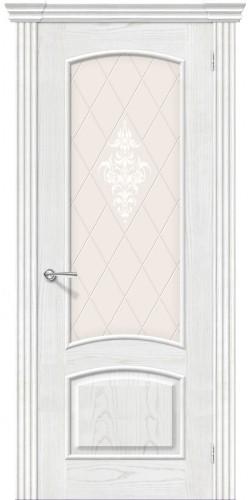 Межкомнатная дверь шпонированная со стеклом Амальфи жемчуг