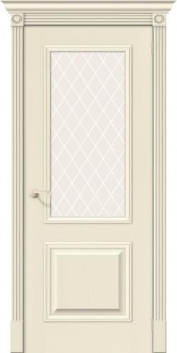 Межкомнатная дверь шпонированная со стеклом Вуд классик 13 ivory