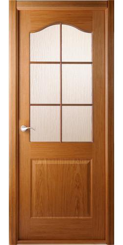 Дверь шпонированная со стеклом Капричеза дуб