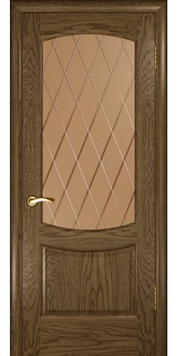 Дверь межкомнатная шпонированная со стеклом Лаура 2 мореный дуб светлый