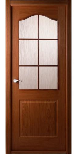Дверь шпонированная со стеклом Капричеза орех