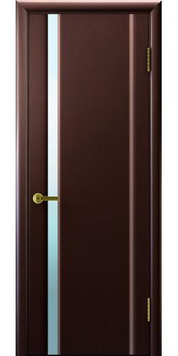 Дверь межкомнатная шпонированная со стеклом Техно 1 венге белый триплекс