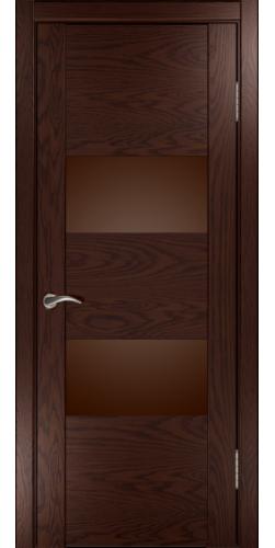 Дверь межкомнатная шпонированная со стеклом Орион 2 мореный дуб темный