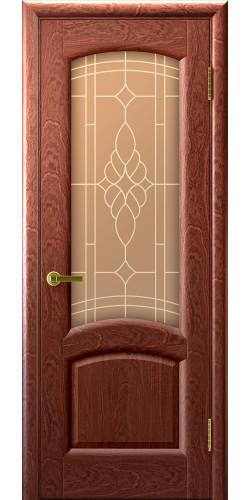 Дверь межкомнатная шпонированная со стеклом Лаура красное дерево