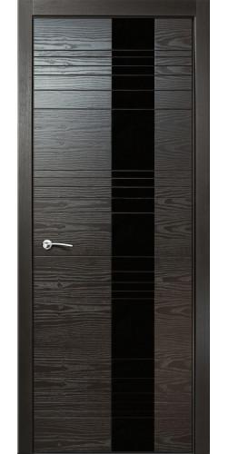 Дверь межкомнатная шпонированная ID HL со стеклом цвет неро