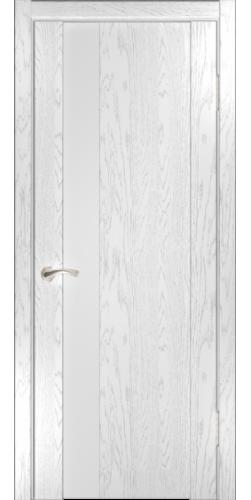 Дверь межкомнатная шпонированная со стеклом Орион 3 дуб белая эмаль
