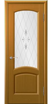 Шпонированная межкомнатная дверь Лаура дуб капри со стеклом