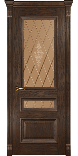 Дверь межкомнатная шпонированная со стеклом Фараон 2 мореный дуб темный