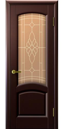 Дверь межкомнатная шпонированная со стеклом Лаура венге