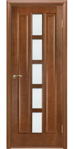 Межкомнатная дверь шпонированная со стеклом Квадро каштан