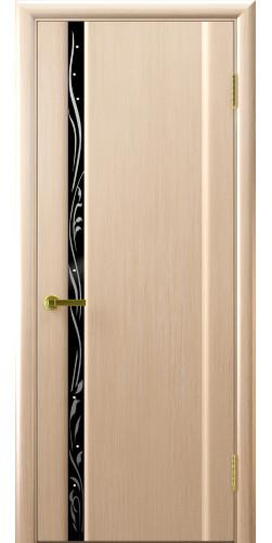 Дверь межкомнатная шпонированная со стеклом Эксклюзив 1 беленый дуб