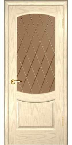 Межкомнатная дверь шпонированная со стеклом Лаура 2 дуб слоновая кость