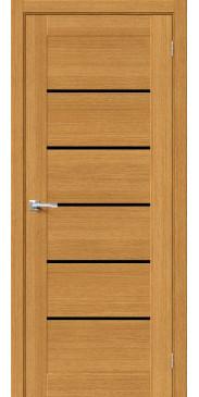 Межкомнатная дверь шпон Вуд Модерн-22 Natur Oak Black Star со стеклом
