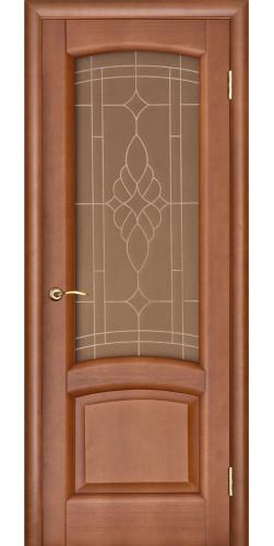 Дверь межкомнатная шпонированная со стеклом Лаура темный анегри
