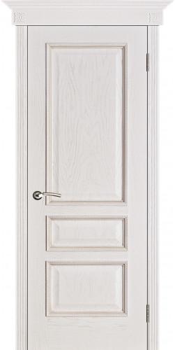 Дверь шпонированная глухая Вена цвет белая патина