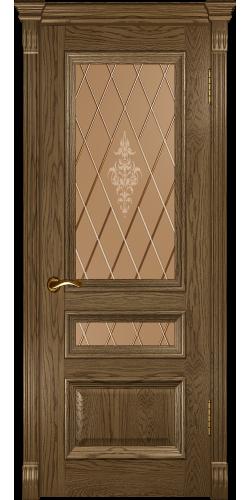 Межкомнатная дверь шпонированная со стеклом Фараон 2 мореный дуб светлый