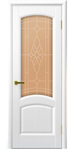 Межкомнатная дверь шпонированная со стеклом Лаура ясень жемчуг