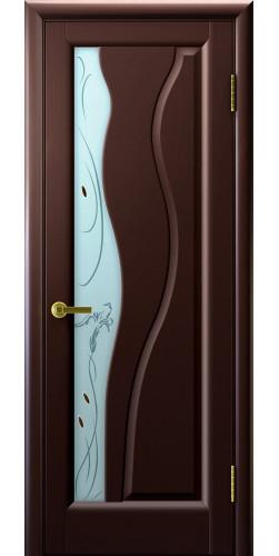 Дверь межкомнатная шпонированная со стеклом Торнадо венге