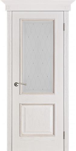 Межкомнатная дверь шпонированная со стеклом Шервуд белая патина (роса)