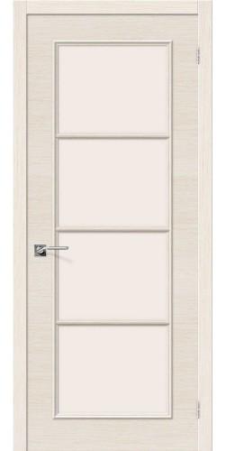 Межкомнатная дверь шпонированная со стеклом Евро 41 беленый дуб