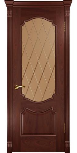 Дверь межкомнатная шпонированная со стеклом Венеция цвет красное дерево