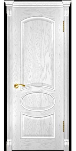Дверь межкомнатная шпонированная глухая Грация дуб белая эмаль