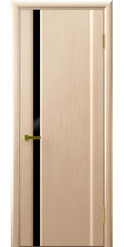 Дверь межкомнатная шпонированная со стеклом Техно 1 беленый дуб черный триплекс
