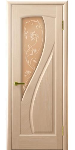 Межкомнатная дверь шпонированная со стеклом Мария беленый дуб