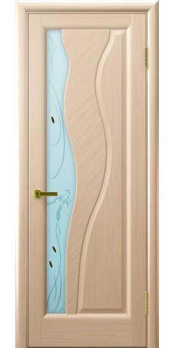 Дверь межкомнатная шпонированная со стеклом Торнадо беленый дуб