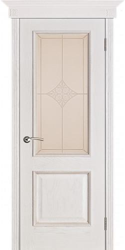 Межкомнатная дверь шпонированная со стеклом Шервуд (ромб)белая патина