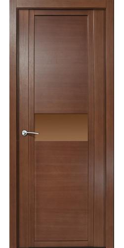 Межкомнатная дверь шпонированная со стеклом QDO H дуб палисандр