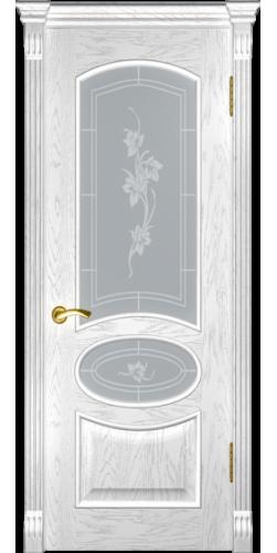 Дверь межкомнатная шпонированная со стеклом Грация дуб белая эмаль