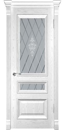 Дверь межкомнатная шпонированная со стеклом Фараон 2 дуб белая эмаль