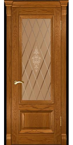 Дверь межкомнатная шпонированная со стеклом Фараон 1 дуб золотистый