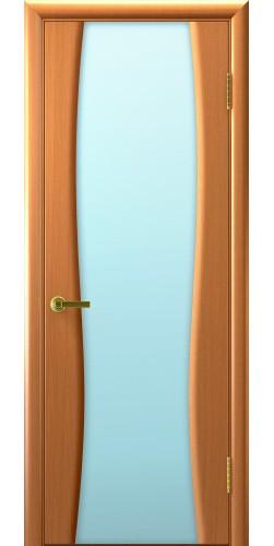 Межкомнатная дверь шпонированная со стеклом Диадема 2 светлый анегри