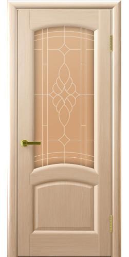 Дверь межкомнатная шпонированная со стеклом Лаура беленый дуб