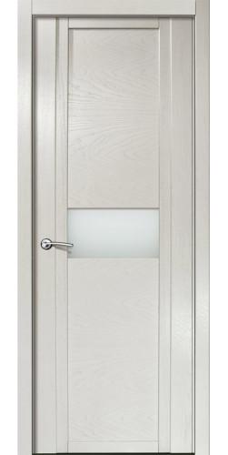 Дверь межкомнатная шпонированная QDO H со стеклом цвет ясень жемчуг