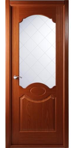 Межкомнатная дверь шпонированная со стеклом Милан кедр
