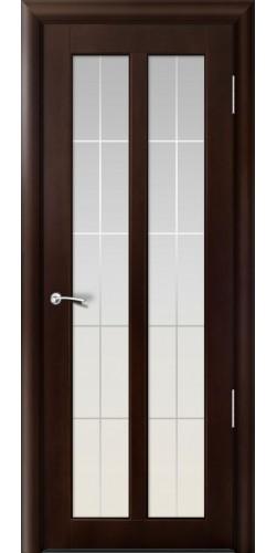 Межкомнатная дверь шпонированная со стеклом Дана тёмный орех