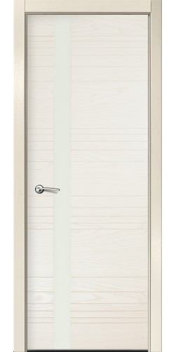 Дверь межкомнатная шпонированная ID H со стеклом  цвет бьянко
