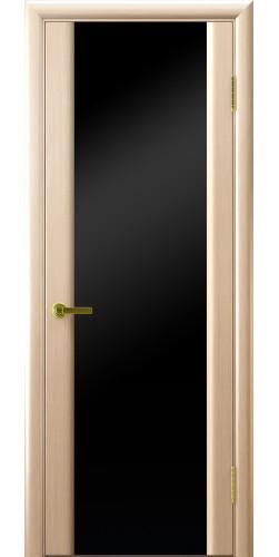 Дверь межкомнатная шпонированная со стеклом Техно 3 беленый дуб чёрный триплекс