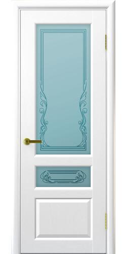 Межкомнатная дверь шпонированная со стеклом Валенсия ясень жемчуг