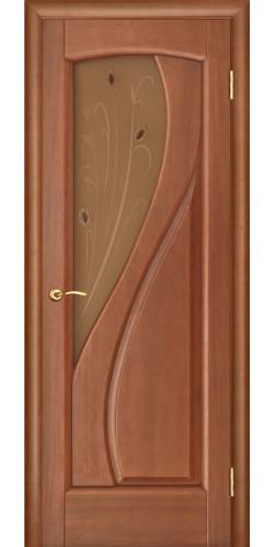 Дверь межкомнатная шпонированная со стеклом Мария темный анегри
