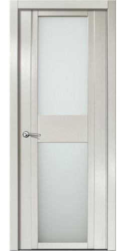 Дверь межкомнатная шпонированная QDO D со стеклом цвет ясень жемчуг