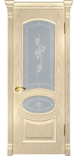 Дверь межкомнатная шпонированная со стеклом Грация дуб слоновая кость