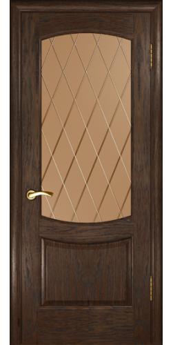Межкомнатная дверь шпонированная со стеклом Лаура 2 мореный дуб темный