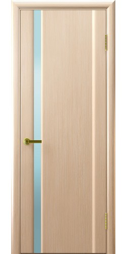 Дверь межкомнатная шпонированная  Техно 1 беленый дуб белый триплекс